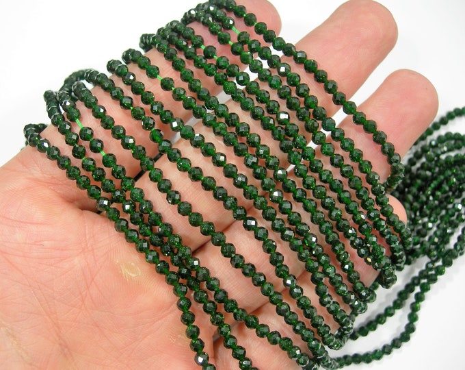 Green Goldstone -  3mm (3.2mm)micro faceted  beads - full strand - 122 beads - A Quality - PG311