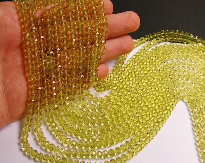 Crystal faceted rondelle -  98 pcs -  6 mm - AA quality - lemon quartz color - full strand - CRV100