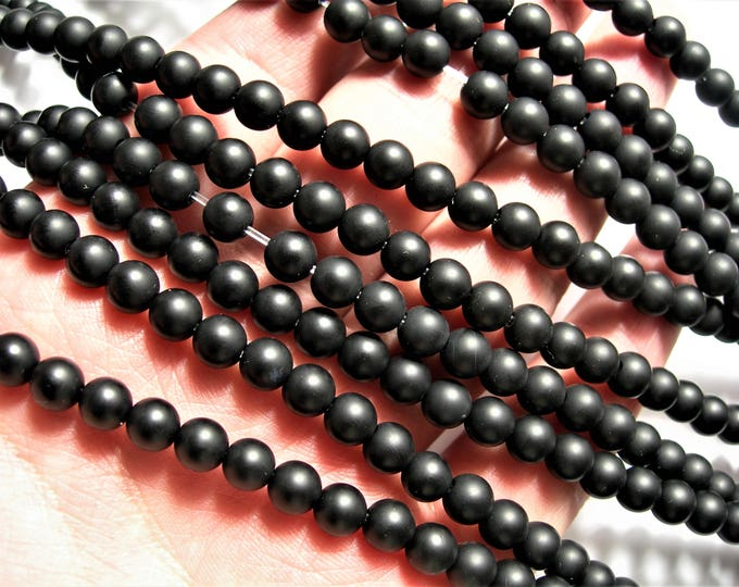 Black Onyx - matte -  6 mm round beads - 1.2mm hole -  full strand - 68 beads - AA quality - big hole - RFG1563