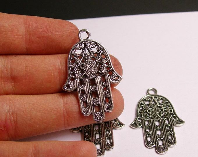 6 Big Hand of Fatima silver color charms hypoallergenic- 6 pcs - engraved - silver hand of fatima - NAZ13