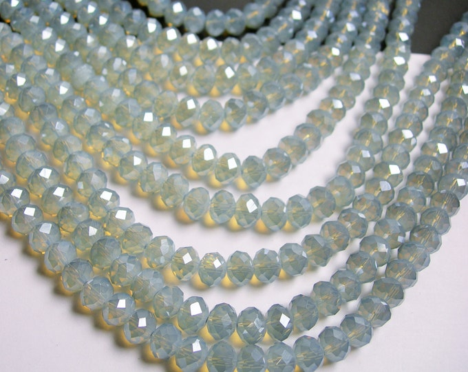 Crystal faceted rondelle - 72 pcs - 8 mm - A quality - full strand - grey moonstone - ab - GSH48