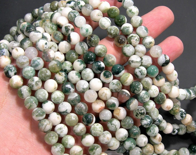 Tree agate - 8mm round beads - full strand - 47 beads - Wholesale deal  - RFG794