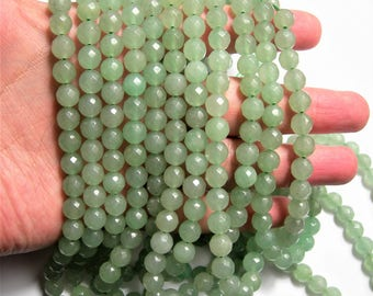 Aventurine - 8 mm faceted round beads -1 full strand - 49 beads - A quality - RFG496