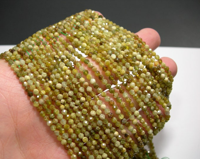 Grossular Garnet - 3mm micro faceted  round beads -  full strand - 128 beads - A Quality - PG222