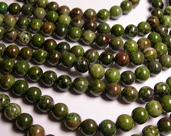 Green Forest jasper  - 10 mm round beads -1 full strand - 40 beads - A Quality - RFG1031