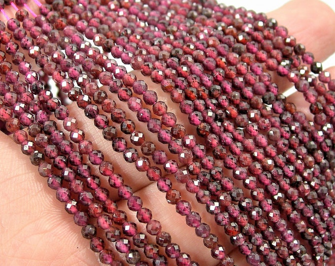 Garnet - 2.7mm micro faceted round beads - 146 beads - Full strand 16 inch - 40 cm  - A Quality - PG150