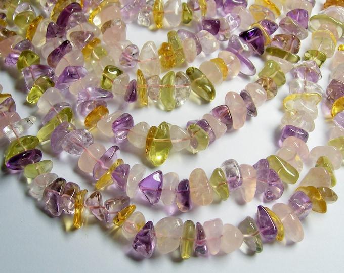 Citrine - amethyst - Lemon quartz - rose quartz - mix quartz gemstone  - bead - full strand - pebble - nugget - PSC191