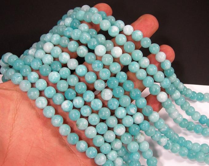 Malaysia Jade - Blue - 8mm round beads - full strand - 47 beads - Amazone aqua blue Jade - RFG2046