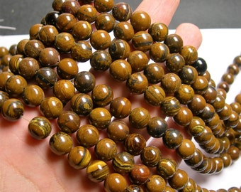Yelllow tiger iron -  10mm round beads -1 full strand - 42 beads - A quality - RFG931
