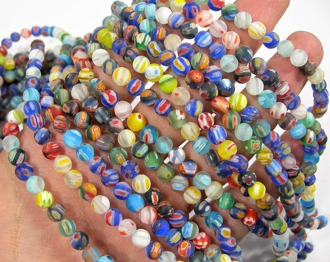 Millefiori - 6 mm(5.9mm) round beads - matte  full strand - 65 beads - RFG2017