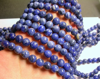 Sodalite - 10 mm round beads - 16 inch  full strand - 40 beads - A quality - RFG711