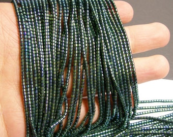 Hematite green - 2mm tube beads - full strand - 200 beads - AA quality - PHG98