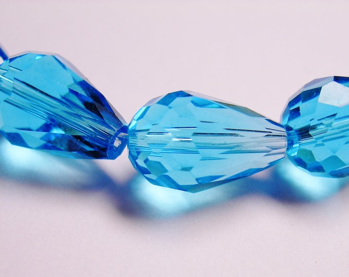Faceted teardrop crystal  beads 12 pcs 14mm by 9mm - agua blue