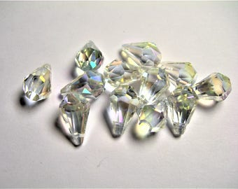 Crystal briolette  - 12 pcs - 9mmx14mm - top sideways drill - Faceted teardrop crystal  beads - clear ab - CBC6
