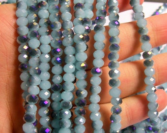 Crystal faceted rondelle - 98 beads - 6 mm - AA quality - ab blue dual tone- full strand - CRV60