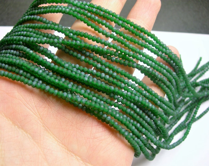 Crystal - rondelle faceted 3mm x  2mm beads - 197 beads - AA quality - Frosted dark green - CAA2G151