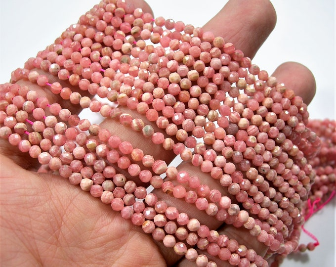 Rhodocrosite - 3mm micro faceted round beads - 122 beads - Full strand - PG236