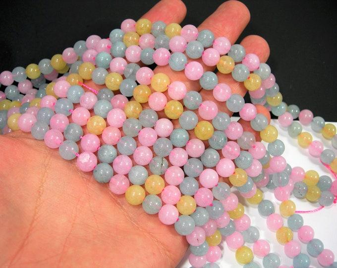 Malaysia Jade - 8 mm round beads - full strand - 48 beads - Blue pink yellow Jade - RFG2024