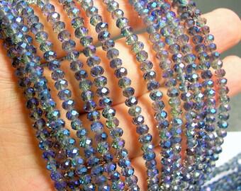 Crystal faceted rondelle - 145 pcs - 19 inch strand - 4 mm - Mystic aurora blue - ab - CRV80