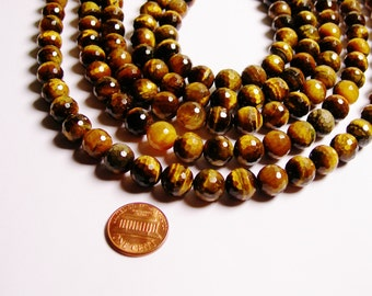 tiger eyes faceted 10mm full strand 38 pcs A quality - NRG145