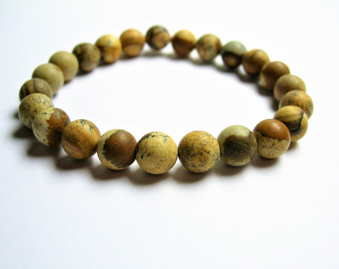 Picture Jasper  - 8mm round beads - matte - 23 beads - 1 set - A quality - HSG22