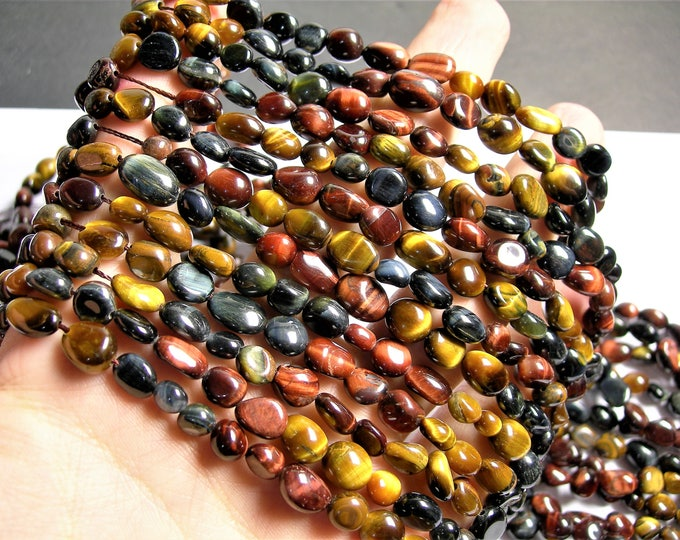 Tiger eye multi color  - pebble - nugget - 1 full strand - mix color tiger eye - Blue - yellow - red -  PSC383