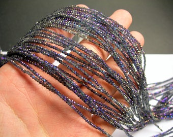 Crystal - rondelle  faceted 1mm x  2mm beads - 194 beads -  mystic purple AB  - full strand - VSC8