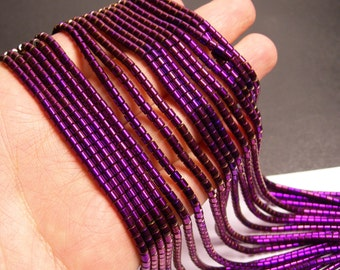 Hematite purple - 3x3mm tube beads - full strand - 132 beads - AA quality - PHG149