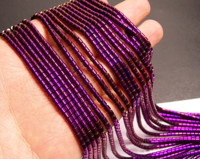 Hematite purple - 3x3mm tube beads - full strand - 132 beads - AA quality - PHG149