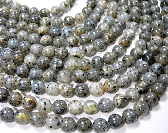 Pitaya Quartz - 10mm round beads - full strand - 39 beads - Black dot quartz -  RFG1672