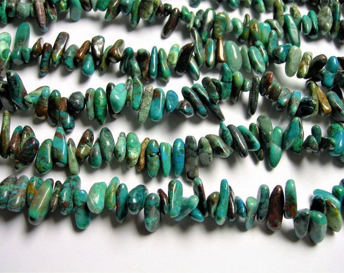Chrysocolla stick gemstone - bead - full strand - stick point - PSC331