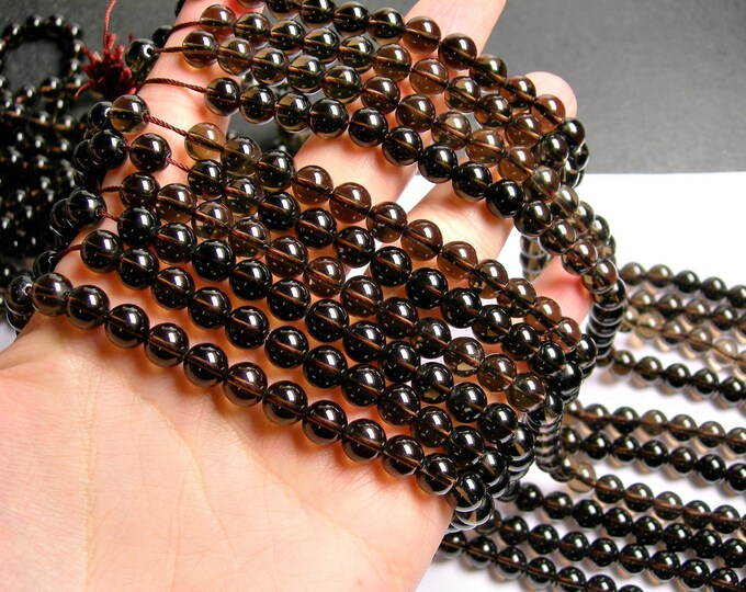 Smoky Quartz - 8 mm round beads -1 full strand - 49 beads - A quality - RFG350