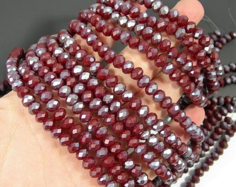 Crystal faceted rondelle - 70 pcs - 8 mm - AA quality - full strand - matte dark prune Red - ab dual tone - RFG1953