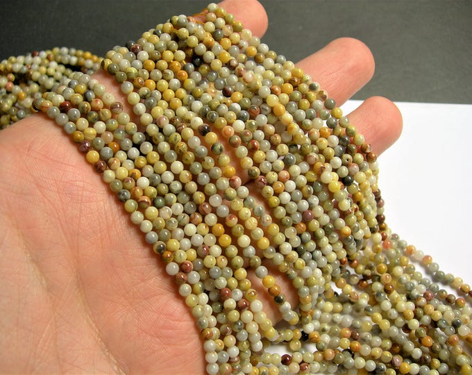 Crazy Lace Agate - 3mm round - 1 full strand - 124 beads - A quality - PG63A