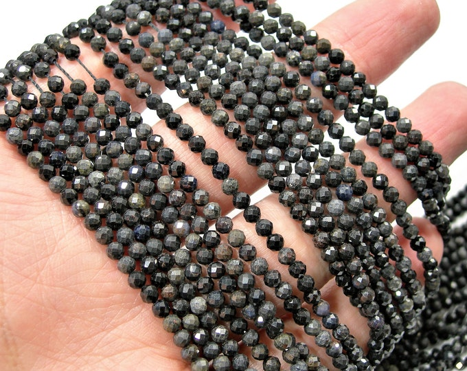 Saphire - 3mm(3.2mm) micro faceted round beads -  full strand  - 123 beads - Dark Saphire Corundum mineral  - PG249