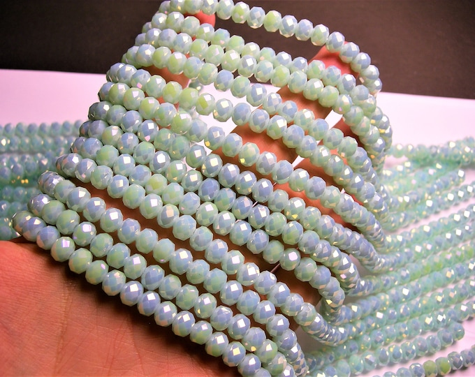 Crystal faceted rondelle - 72 pcs - 8 mm - AA quality - full strand - mystic ab light aqua  - GSH64