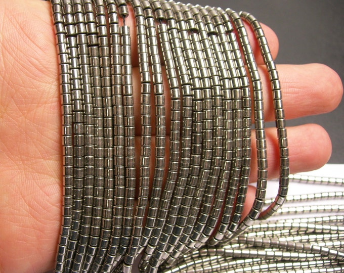 Hematite silver - 3x3mm tube beads - full strand - 132 beads - AA quality - old silver tone  - PHG147