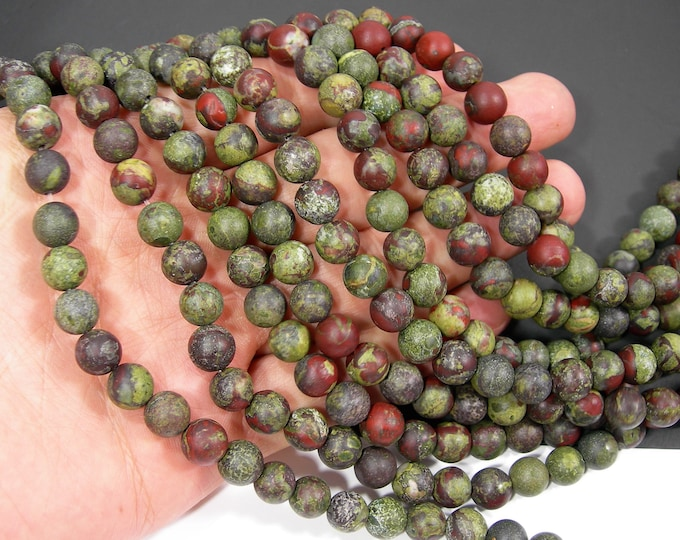 Dragons blood jasper - Matte - 8mm(8.5mm) round beads - full strand - 46 beads  - RFG2032