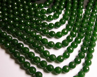 Jade - 12 mm faceted round beads -1 full strand - 32 beads - color  green Jade - RFG1167