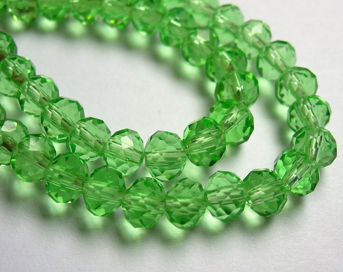 Crystal faceted rondelle -  98 pcs - 6 mm - AA quality - green - full strand - WHOLESALE DEAL - CRV139