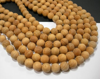 Yew Wood  - 8 mm round beads - full strand - 49 beads - Taxus Baccata - RFG2150