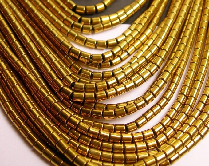 Hematite gold - 3mm tube beads - full strand - 130 beads - AA quality - 3x3 - dark  gold -  PHG77