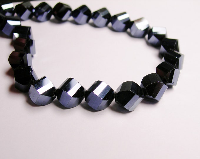 Crystal faceted twisted nugget 9 mm beads - 70 beads - A quality - black metallic  - Full 27 inch strand