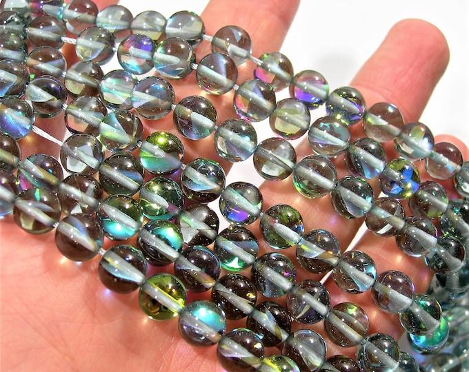 Mystic aura quartz grey - 8mm(7.8mm) round - Holographic quartz - 48 Beads - full strand - light aura grey - RFG1735