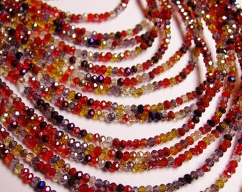 Crystal - rondelle faceted 3mm x 2mm beads - 200 beads - AA quality - multicolor - full strand - CAA2G84