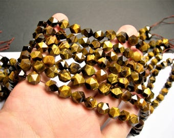 Tiger eyes - 10mm(9.5mm) big diamond cut  faceted beads - full strand - 39 beads - A quality - Yellow tiger eyes - RFG1384
