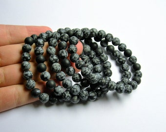 Snowflake Obsidian   - 8mm round beads - matte - 23 beads - 1 set - A quality - HSG21