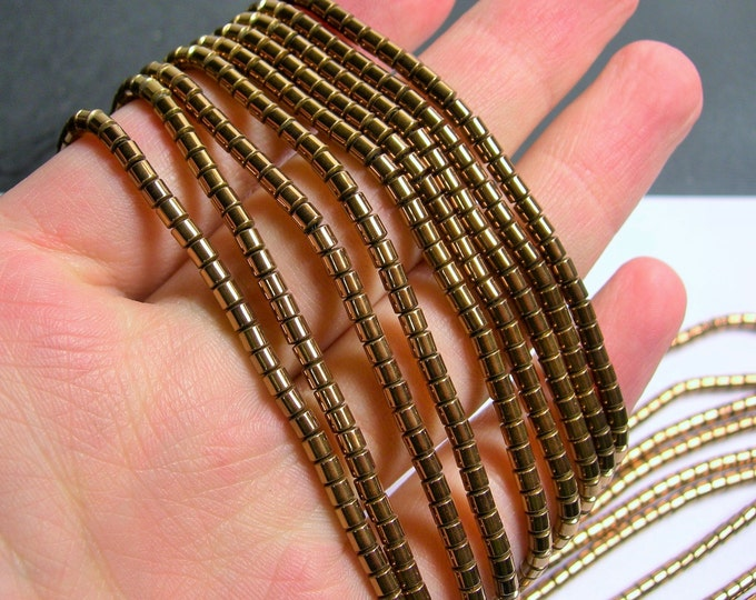 Hematite Bronze - 3mm tube beads - 1 full strand - 133 beads - AA quality - 3mmx3mm - PHG212