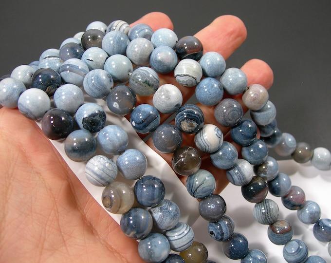 Blue Banded Brazil Agate - 12mm round - full strand - 33 beads - Rare - RFG2157