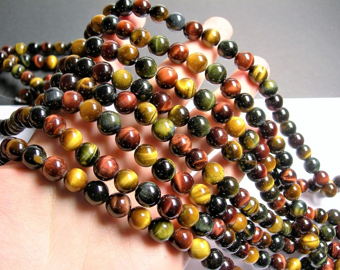 Tiger eyes  multi color - 10 mm round beads - full strand - 40 beads - A quality - mix color tiger eyes - RFG1409